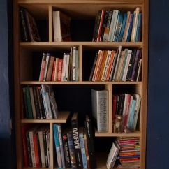 Alcove bookcase (right hand side). Made with birch ply with oak frame